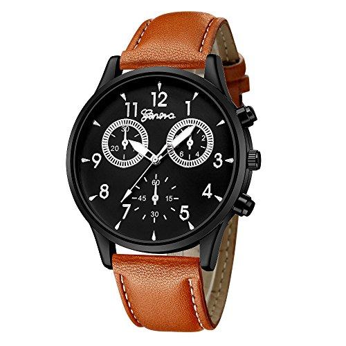 IG-Invictus Mode Für Männer Leder Military Casual Analog Quarz-Armbanduhr Business Uhren Genf Uhr 635 Gürtel Schwarz Silber Verzierte Braun Gürtel (Rose Gold Luxus-uhr Genf)