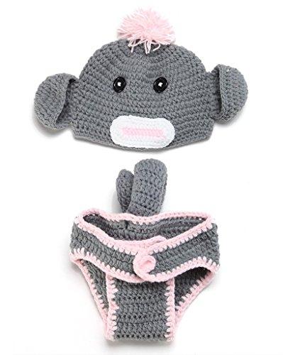 ACVIP Baby Unisex Strick Hut 0-6 Monate Neugeborene Photographie Foto-Shooting Cartoon Design (Grau Elefant)