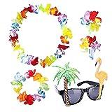 Sevenmye Lot de 4Hawaiian Leis Guirlande de fleurs Déguisement et 1Flamingo de noix de coco arbres fête de lunettes de soleil Eyewear