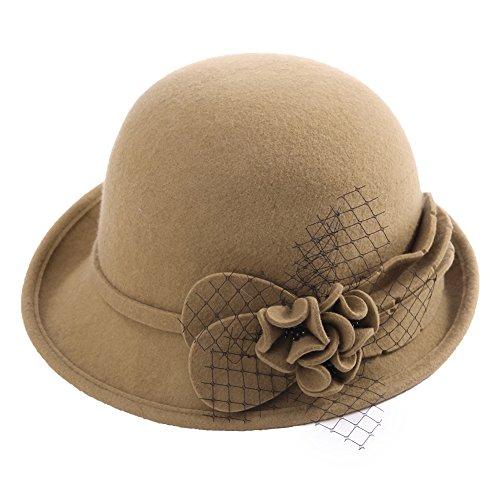 SIGGI Damen 100% Wolle Glockenhut warme 1920s Vintage Cloche Bucket Hut Kambel -