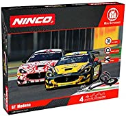 Ninco - WRC GT Modena. Circuito Slot Escala 1:43 con Puente y looping. 5 m. Incluye 2 Coches con Luces. 91015