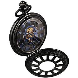 Alienwork Retro Handaufzug mechanische Taschenuhr Skelett Uhr graviert blau schwarz Metall W891D-02
