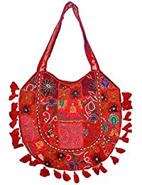 Gaurapakhi Rajasthani Collection And Ethnic Cotton Handmade Handbag With Multicolor For Women's - B07D7GP4PR