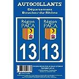 Autocollant plaque immatriculation auto département 13 Bouches du Rhone