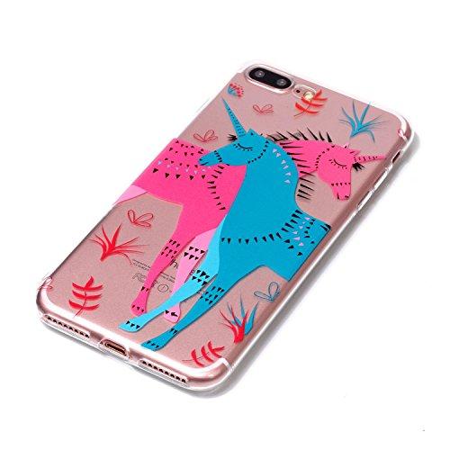 iPhone 7 Plus 8 Plus Custodia, SportFun Slim Flexible TPU Custodia Protettiva in silicone per iPhone 8 Plus 7 Plus Case gufo Crisantemo cavallo (Hirsch) Pferd