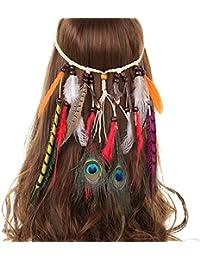 AWAYTR Hippie Boho Gland Plume Bandeau Perles Mignonne Mascarade Déguisement Casques Accessoires Cheveux Hippie