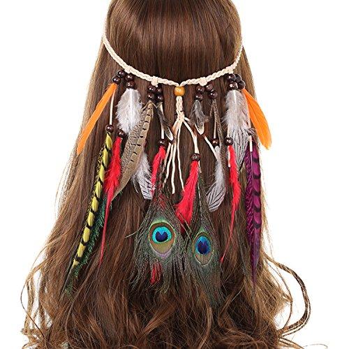 AWAYTR Jahrgang Feder Stirnband Indisch Kopfschmuck Boho Hippie Perlen Maskerade Schick Kleid Haar Zubehör Zum Frau ()