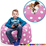"""Stuffed Animal Storage Bean Bag Chair in Lavender with White Polka Dots. FILL IT, ZIP IT AND SIT IN IT! Clean Up the Room in Style AND Get Yourself a Premium 95"""" Bean Bag Chair For Free!"""