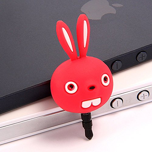 Aroncent Anti Staub Plug Stopper/Ear Cap/Handy Charms für iPhone Samsung HTC, Süßes Cartoon Silikon Buck Teeth Kaninchen Anti Dust Plug Earphone Jack