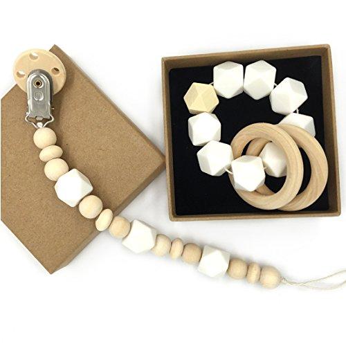 Coskiss Madera bebé Mordedor anillo de madera Chupete clip Orgánica de madera Montessori juguete de silicona Perlas de mordedores para bebés Mordedor libre de BPA (Blanco)