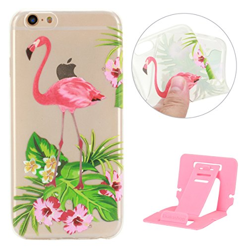iPhone 6S Coque de Protection en TPU Silicone,iPhone 6 Transparent Housse,Ekakashop Jolie Fleurs Flamingo Design Ultra Mince Crystal Clair Souple Gel Housse Coque Protecteur Back Cover Defender Flexib Fleurs Flamingo