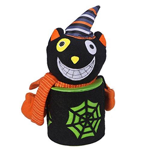 BESTOYARD Halloween Pralinenschachtel Niedlichen Cartoon Zombie Candy Jar Treat Cookie aufbewahrungstasche Geschenkbox Für Kinder Halloween Home Party Bar Dekoration Cosplay Prop (Katze Schwarze Halloween-verzierung)