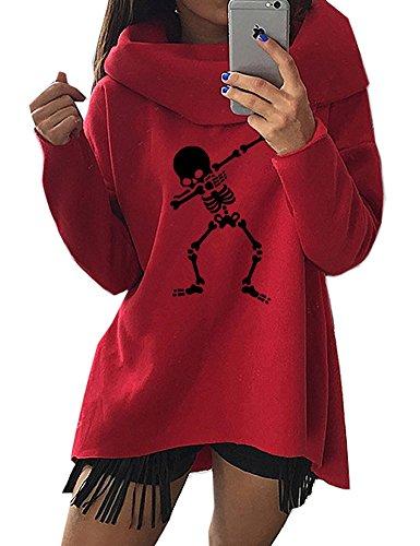 Peceony Skull Pull Sweatshirt Femme Imprimé ou Tendance Neu Rouge