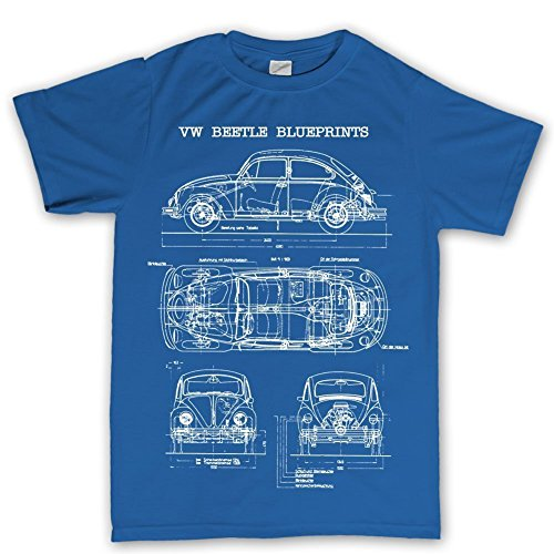 Camiseta de manga corta, diseño de coche escarabajo clásico azul azul real XX-Large