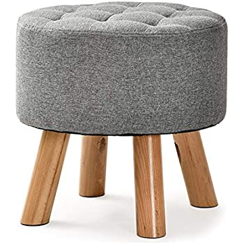 Dark Brown LEITING Square Footstool Ottoman Footrest Pouffe Chair Stool 4 Wooden Beech Legs Upholstered with Linen Fabric Cover