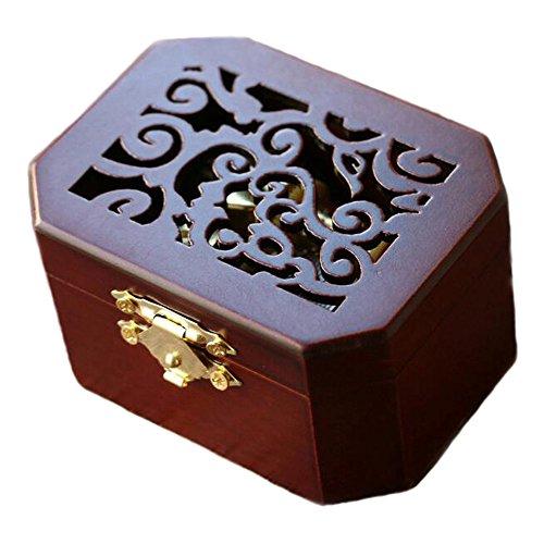 FnLy Spieluhr, 18 Noten, antike Gravur, Holz, zum Aufziehen, Anime, Seemann und Mond, achteckig goldfarben