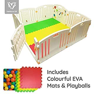 NEW Venture ALL STARS Baby Playpen | 8 Pcs Including Fun Activity Panel | Fitted Floor Mats And Bright Coloured Play Balls | Strong And Durable - Made From High Quality Non-Toxic Materials