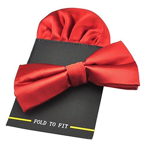 PenSee Herren-Fliege, vorgebunden, mit Einstecktuch-Karte, Set, aus Seide, einfarbig Gr. onesize, Rot 1