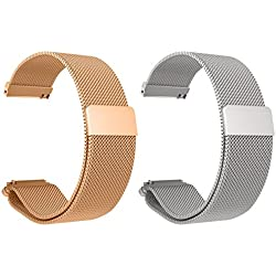 Set of 2 Replacement Metal Milanese LOOP Bands for LG LGW110 G Watch R Smartwatch (Rose Gold+Silver)