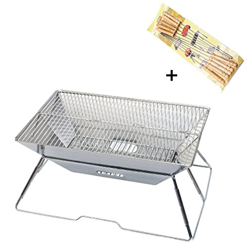 Edelstahl Barbecue Pits Portable Multifunktions Grill Outdoor Camping Picnic BBQ Grill mit Barbecue Sticks (31 x 31x 22 CM)