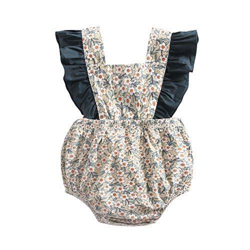Sanlutoz Neugeborenes Baby Mädchen Baumwolle Blumen Gedruckt Niedlich Sommer Body Spielanzug Jumpsuit (0-6 Monate, BRS8041) (Outfits Mädchen Boutique Kleine)
