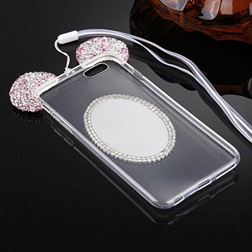 Phone case & Hülle Für iPhone 6 / 6s, Maus Ohr Diamant Muster Transparent TPU Schutzhülle mit Lanyard & Spiegel ( Color : Magenta ) Purple
