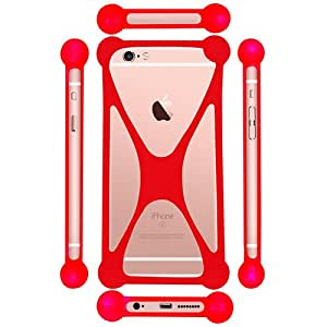 Casotec Universal Silicone Bumper Frame Soft Gel Phone Case Cover for Lenovo A2010 - Red