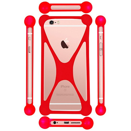 Casotec Universal Silicone Bumper Frame Soft Gel Phone Case Cover for Samsung Galaxy S4 mini I9190 - Red  available at amazon for Rs.299