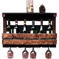 ACZZ Vintage Estante de Vino de Madera Montado en la Pared, Soporte de Vidrio Y