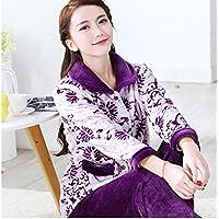 WYIKAI Pijamas El Sello Púrpura Mujer Otoño Invierno Fuera De La Camiseta Pajama Establece Franela 2Pieza Gruesa Pijama Longsleeved Home,M