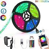 Striscia LED RGB 5M Strisce Luminose Luci LED Strip Lights 300LEDs SMD5050 Impermeabili + Bluetooth Controller +24 Tasti Telecomando Nastri Decorativa per Casa TV Feste