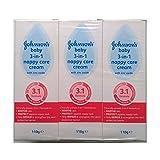 Johnsons bebé 3 en 1 Crema Pañal Cuidado con óxido de zinc - 3 x 110gm
