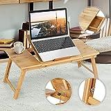 Jago Betttisch mit großer Tischplatte für Tablet und Laptop | Betttablett aus Bambus in 5 Stufen einstellbar, Schublade, florales Design | Laptoptisch, Knietisch, Frühstückstablett, Notebooktisch