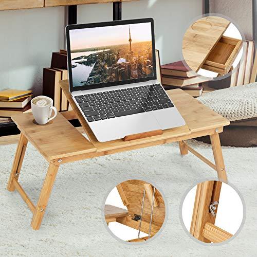 Miadomodo–Tavolino da Letto Grande, in bambù, per Portatile