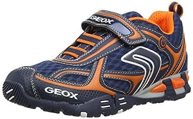 Geox J Lt Eclipse A, Baskets mode garçon - Bleu (Navy/Orange), 34 EU
