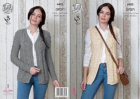 King Cole Ladies Knitting Pattern Womens Cable Detail Cardigan & Waistcoat Big Value Aran (4432)