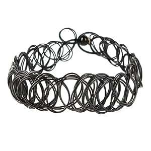 Yesurprise Bijoux Bracelet élastique Pour bras/ pied En plastique Vintage Cercles Noir Largeur 1.4cm