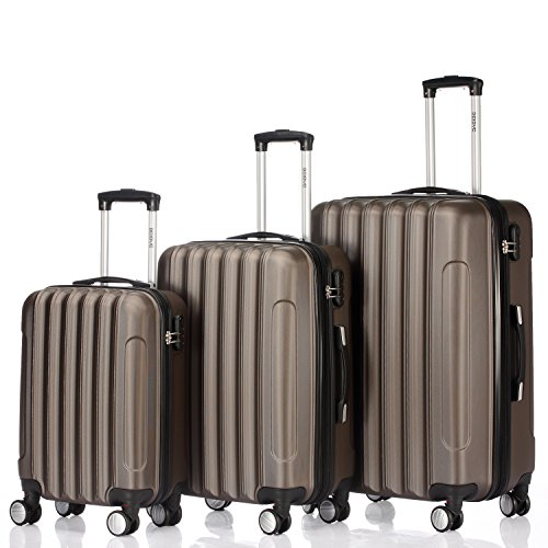 Zwillingsrollen 2050 Hartschale Trolley Koffer Reisekoffer in M-L-XL-Set in 12 Farben (Coffee, Kofferset)