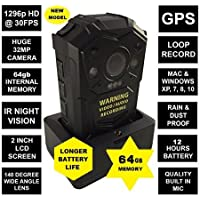 GUARDIAN G1-PLUS BODY CAMERA 64GB - FULL HD 1296p @30fps & 32MP Camera with a 140 Degree Wide Angle Lens + IR Night Vision, GPS // Comes with built in 64 GB Memory Card + Chest Harness
