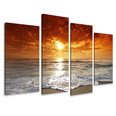 """Picture - art on canvas water length 51"""" height 31,5"""", four-part parts model no. XXL 6038 Pictures completely framed on large frame. Art print Images realised as wall picture on real wooden framework. A canvas picture is much less expensive than an oil pa"""