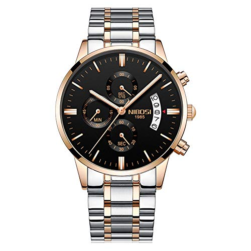 Orologi polso Tre Sub-dials Cronografo Calendario Quarzo Orologi Uomo Cinturino in acciaio inox Elegant, Oro rosa-Argento