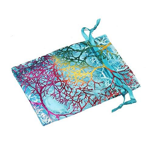 jlfhyg Distinctive 100 Pack Gold Sheer Hochzeitsgeschenke Bags, umweltfreundliche Wiederverwendbare Geschenktüten, Goodie Bags, Trick or Treat Bag (White 9x12 cm)(None 7 * 9 cm Picture Color)