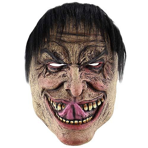 Lvguang Halloween Stil Lange Zunge elender Mann beängstigend Requisiten Kopf-Stil Horror Monster Maske für Party, Bar & Geburtstag (Mehrfarbig, One Size)