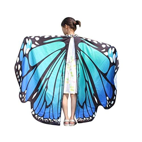 Kid Baby Mädchen Schmetterlingsflügel Schal Schals Nymphe Pixie Poncho Kostüm Zubehör weichen Stoff Pfau Flügel Schal Fee Damen Kostüm Zubehör Eltern Kind (136*108CM, Blau) (Pfau Kostüm Zubehör)