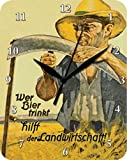 Bier Trinkt Landwirtschaft Blech Wanduhr Stabil NEU 26x20cm U588