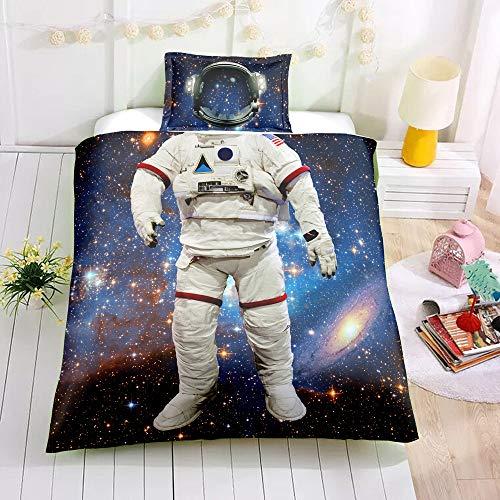 (2 STÜCKE 3D Bettbezug Set Bettwäsche Set Astronauten Kreative Persönlichkeit Kinder Cartoon Kinder Zuhause Weiche Weihnachten Neujahr Bedline Bettwäsche, Raumanzug, 135X200 cm)