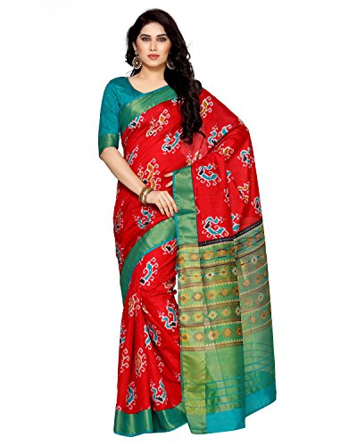 Mimosa By Kupinda Women's Tussar Silk Saree Ikkat Style (Latest Designer Sarees...