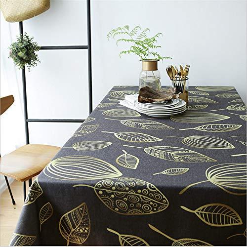 hhlwl Quadratische Tischdecke Aus Baumwoll- Und Leinen-Couchtisch TV-Theke Mit Goldenem Blatt Bedrucktes Tischtuch, 135 X 135 cm