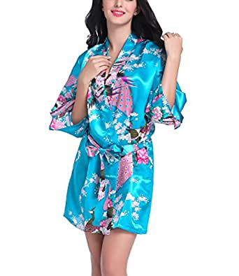 Women Short Kimono Robes Bridesmaid Peacock and Blossoms Stain Silk Nightwear Acid Blue