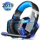 DIZA100 G2000 Gaming-Headset für Xbox One PS4 PC, Geräuschunterdrückung Kopfhörer mit Mikrofon, LED-Lichter für Laptop Mac Nintendo Switch Games Blau blau (1)
